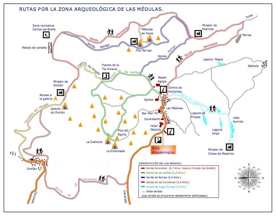 Mapa de las distintas sendas y puntos de interés de Las Médulas