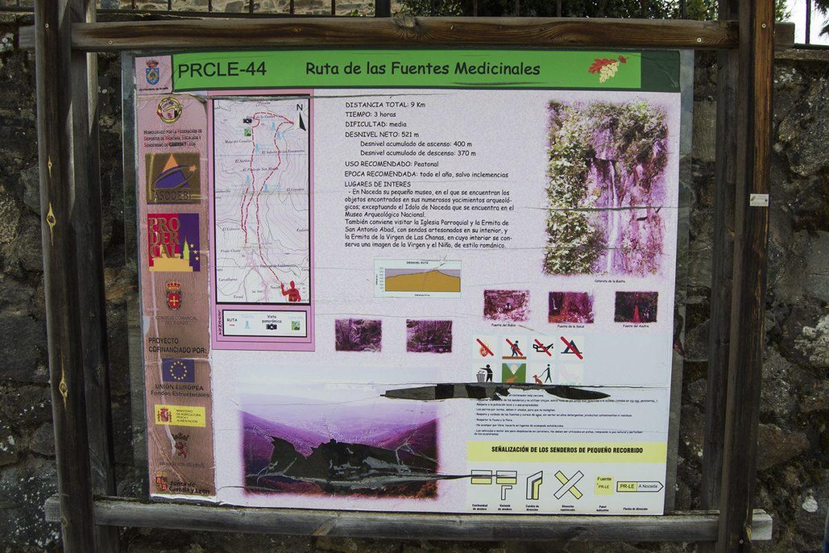 Mapa de la Ruta de las Fuentes Medicinales, en Noceda del Bierzo