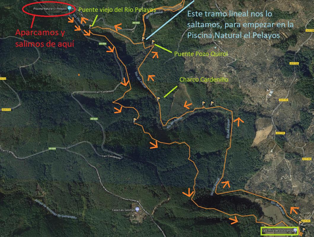 Mapa de la variante de la Senda de los Pescadores, en Arenas de San Pedro
