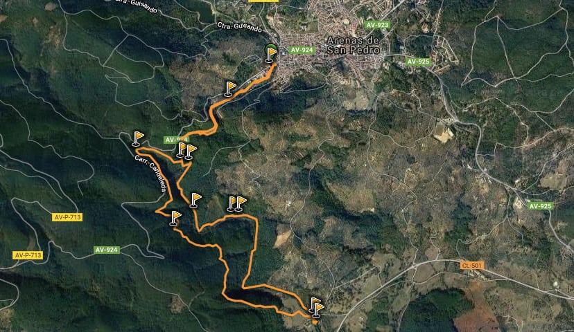 Mapa excursión de la Senda de los pescadores, en Arenas de San Pedro